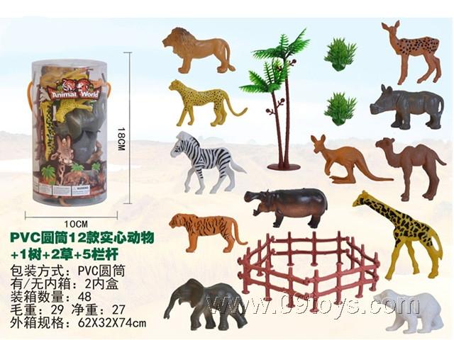 12款实心动物+1树+2草+5围栏