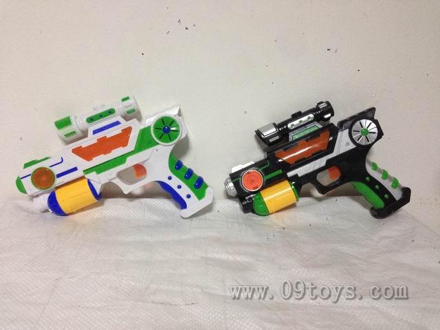 实色间喷漆灯光音乐 电动投影枪