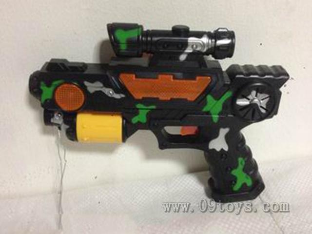 军事迷彩灯光音乐电 动投影枪
