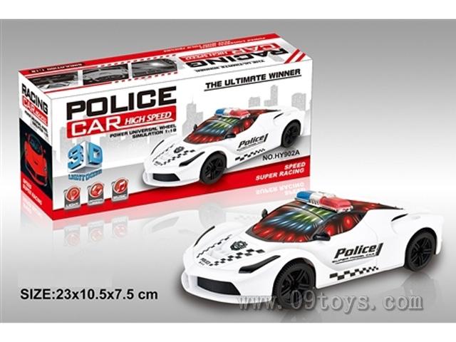 电动3D万向警车(法拉利) 带灯光音乐 (红、白二色混装)