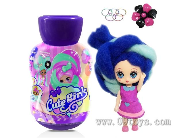 葫芦瓶5寸实身Candylocks棉花糖百变头发型娃娃带香味惊喜美发娃带说明书带发夹橡皮圈