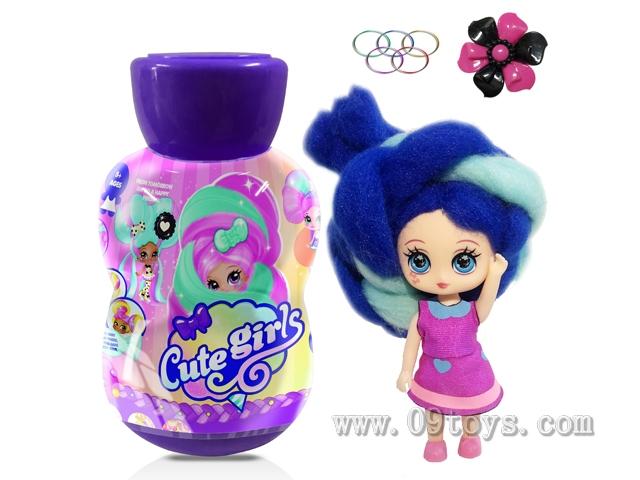 葫芦瓶5寸实身Candylocks棉花糖头发型娃娃带香味惊喜美发娃带说明书带发夹橡皮圈