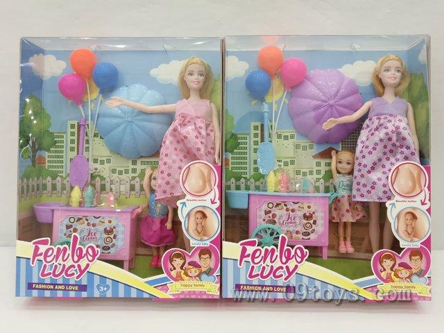 11.5寸怀孕芭比配冰淇淋车5寸芭比灯光气球