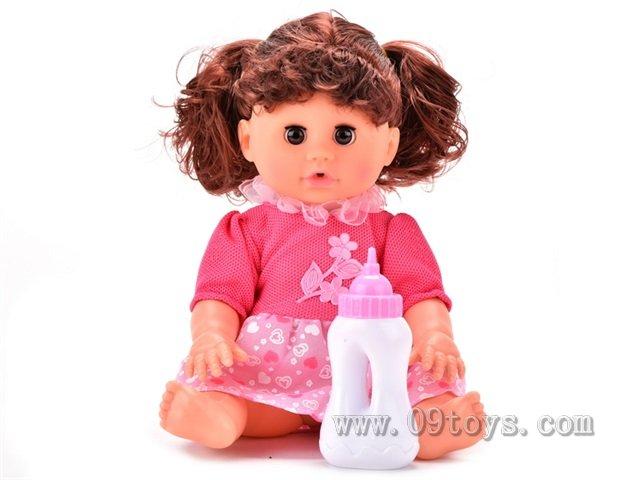 背包14寸娃娃,喝水尿尿,仿真婴儿声