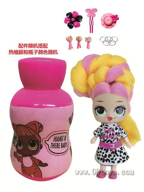 第3代葫芦瓶5寸实身OMG.LOL棉花糖头发型娃娃带香味惊喜娃娃带说明书带发夹橡皮圈