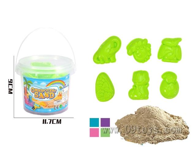 6个恐龙J沙模+200g太空沙随机颜色桶装