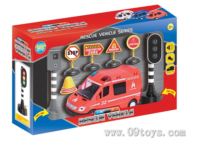 7寸 火警车配红绿灯及路障