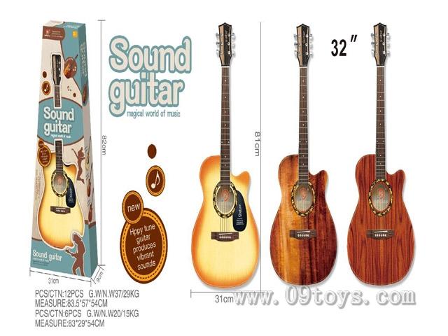 高配32寸民谣(6条专业钢弦)配送:专业调音器、背带、拨片