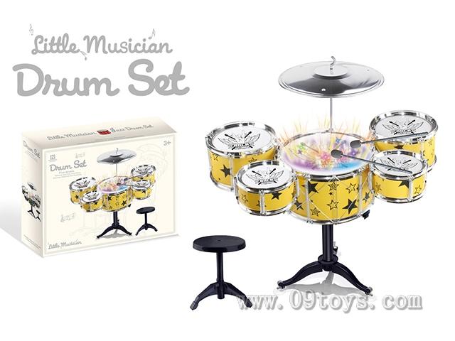 黑黄2色灯 光音乐震动 电镀爵士鼓 套装5鼓 +椅