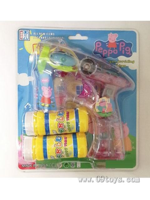 粉红猪透明电动泡泡枪(灯光+音乐)