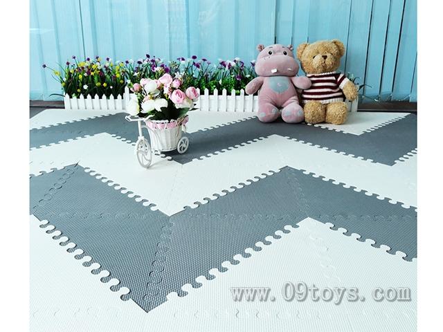 EVA拼图地垫三形灰色米白色双色20大片+32条围边35x35CM