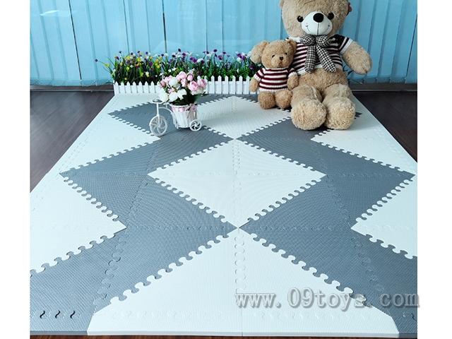 三形灰色米白色双色20大片+32条围边35x35CM EVA拼图地垫