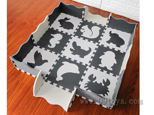 EVA拼图地垫16大片动物+围边深灰浅灰2色