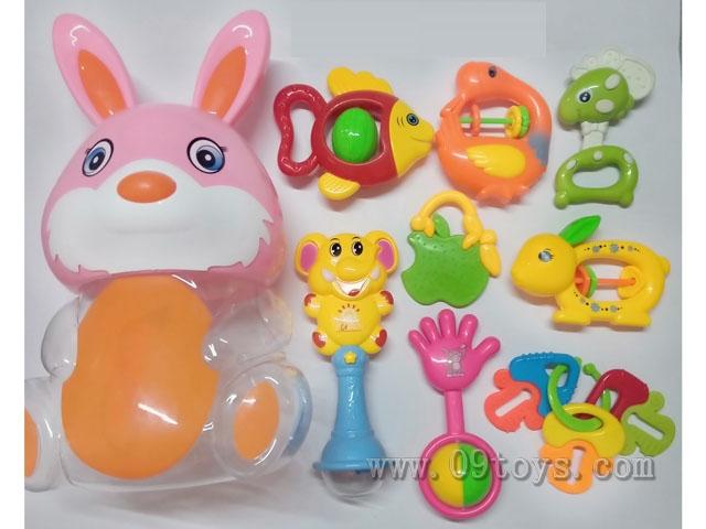 兔瓶摇铃软胶8件套
