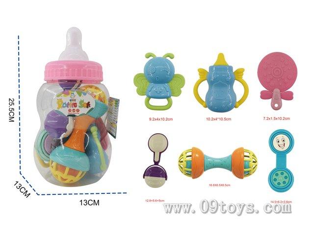 婴幼儿小奶瓶手摇铃 6件套含3块牙胶