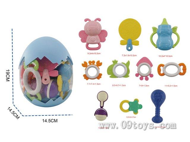 婴幼儿圆蛋装手摇铃 10件套含7块牙胶