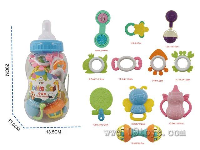 婴幼儿中奶瓶手摇铃 11件套含7块牙胶