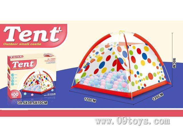 沙滩玩具花点帐篷带100粒球