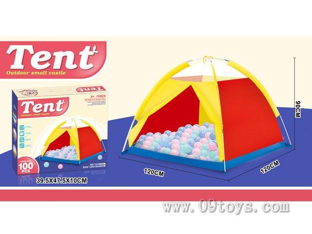 沙滩玩具色布帐篷带100粒球