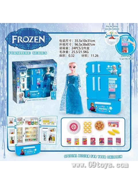 多门冰箱售货机+冰 雪芭比11.5寸 冰雪 奇缘 灯光声音