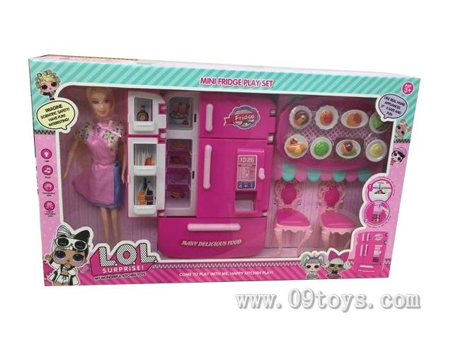 多门冰箱售货机+桌 椅+食物配件+粉围裙 芭比 LOL  芭比色    灯光声音