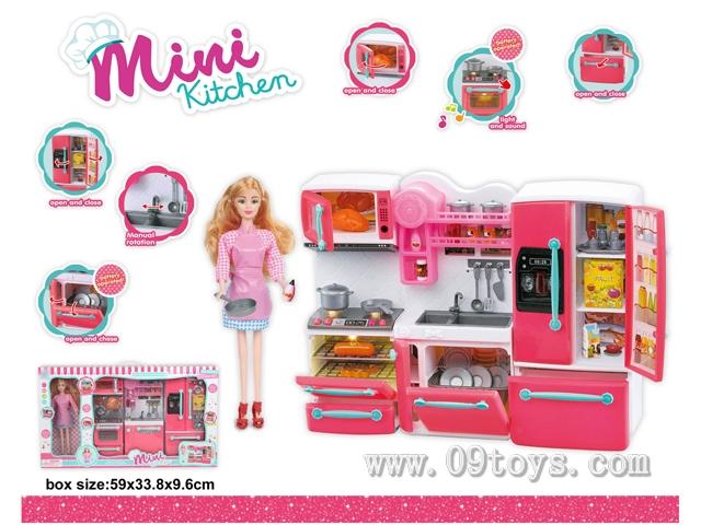 炉具+洗菜盆+冰箱+芭比娃娃(灯光音乐,包2粒AAA)