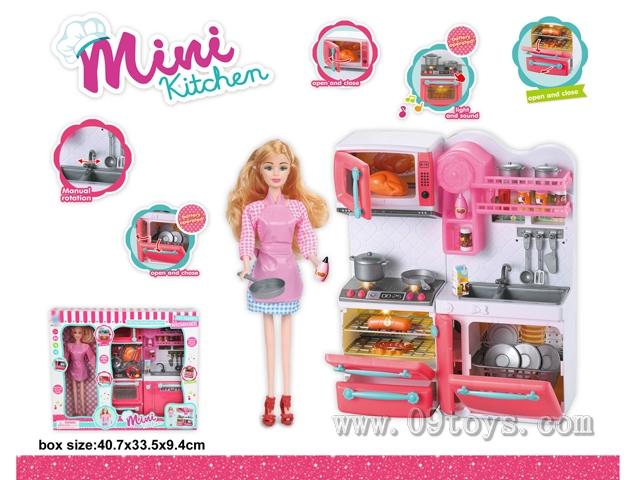 炉具+洗菜盆+芭比娃娃(灯光音乐,包2粒AAA)