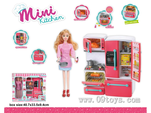 炉具+冰箱+芭比娃娃(灯光音乐,包2粒AAA)
