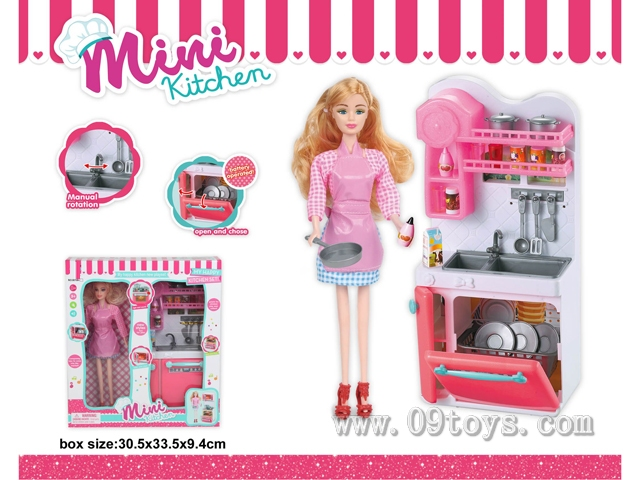 洗菜盆+芭比娃娃